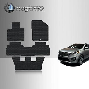 Toughpro Heavy Duty Black Rubber For 2016 2019 Kia Sorento Floor Mats 3rd Row