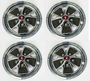 New 14 Style Steel Wheel Hub Caps Ford Mustang 1965 1967 With Red Centers