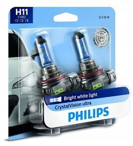 2x Philips H11 Upgrade Crystal Ultra Vision 12362 Halogen Light Bulb Germany