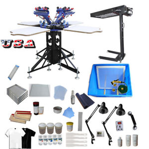 4 Color 4 Station Screen Printing Press Kit With Flash Dryer Uv Exposure Unit