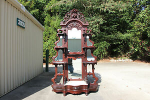 Spectacular Walnut Victorian Rose And Fruit Nut Carved Marble Top Etagere