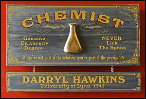 Personalized Chemist Vintage Wood Plank Sign Office Home Man Cave Gifts