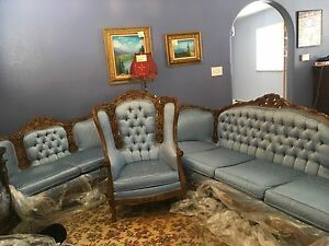 Victorian 3 Piece Louis Xv Sofa Loveseat And Chair Color Med Blue Brocade C