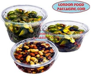Round Food Containers Plastic Clear Storage Tups With Lids Deli Pots somo