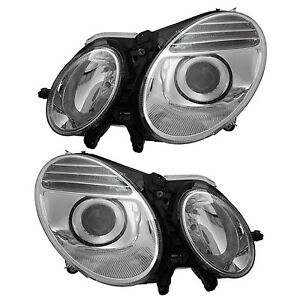 Mercedes Benz W211 E Class 06 09 Halogen Projector Headlight Left Right Pair Set