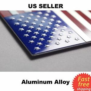 3d Metal Us American Flag Emblem Sticker Decal High Grade Aluminum 3 15 X1 75