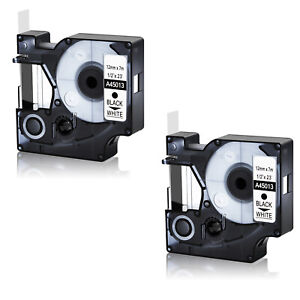2pk For Dymo 1 2 D1 45013 Black On White Label Tape Labelmanager 100 160 250