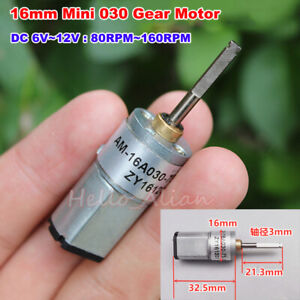 16mm Dc 6v 9v 12v 160rpm Slow Speed Mini Full Metal Gearbox Gear Motor Robot Car