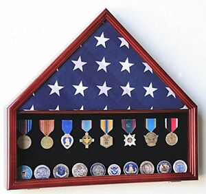 Flag Medals Pins Display Case Uv protect Clear Acrylic Cherry Finish Beachwood