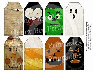 Primitive Grungy Look Hang Tags Halloween Fall Faces 16212 Scrapbooking