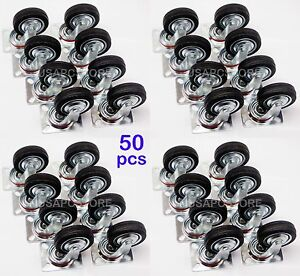 50 Pack Swivel Caster Wheels 3 Rubber Base With Top Plate Bearing Heavy Duty