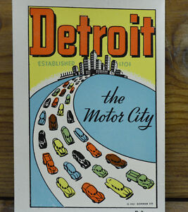Original Vintage Travel Decal Detroit Motor City Old Cars Auto Hot Rod Trailer