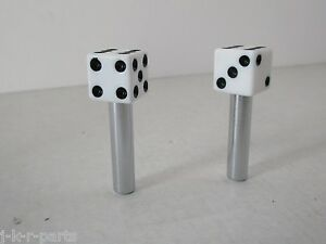 Door Lock Knobs Dice White 1 Pair Fits Chevy Ford Mopar Hot Rod Classic 70041