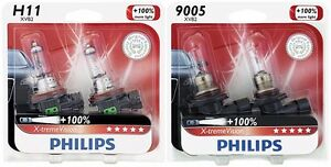 4x Philips 9005 h11 X tremevision 100 More Super Bright Light Upgrade Bulb 65w