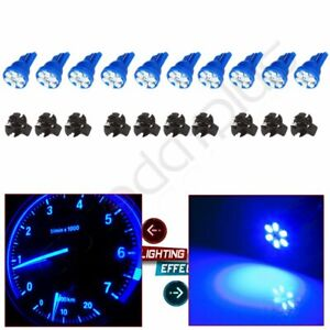 10pcs T10 Blue Led Bulb Instrument Gauge Panel Dash Light 5 8 Socket For Gmc