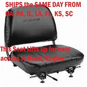 New Universal Folding Vinyl Forklift Seat Fits Clark Cat Hyster Yale Toyota