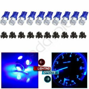10pcs Blue T10 Led 168 194 5 8 Socket Cluster Dash Instrument Panel Light Bulb