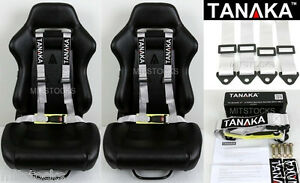 2x Tanaka Universal Light Gray Silver 4 Point Buckle Racing Seat Belt Harness 2