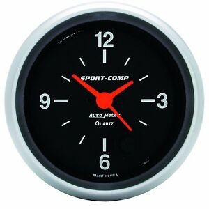 Autometer 2 5 8 Sport Comp Analog Clock Gauge 12 Hour 3585