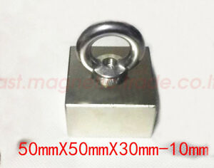 50x50x30mm Hole 10mm Neodymium Permanent Super Strong Magnet With Rings N38