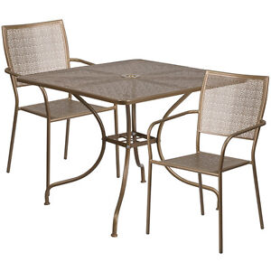 35 5 Square Gold Indoor outdoor Patio Restaurant Table Set W 2 Chairs