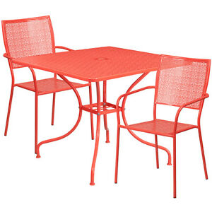 35 25 Square Coral Indoor outdoor Patio Restaurant Table Set W 2 Chairs