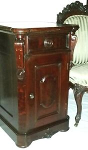 Night Stand Half Commode Renaissance Victorian C1870 Burl Walnut 30t