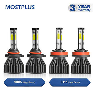 9005 H11 4 Sides Cob Led Headlight High Low Beams 6000k White Bulbs 4pcs