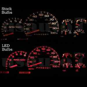 95 98 Chevy C1500 K1500 Truck Dash Instrument Cluster Gauges Red Leds Lights Kit