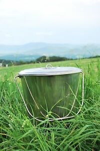 18 Qt Stainlesss Steel Pail Milk Pail Bucket With Lid Brand New Seamless