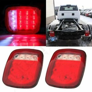 2pcs Truck Trailer Stud Mount Stop Turn Tail Back Up Light 16 Led Red White 12v