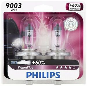 2x Germany Philips 9003 H4 Vision Plus Upgrade Bright Halogen Light Bulb 60w 55w