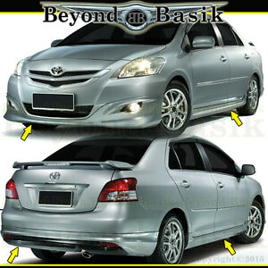 For 2007 2012 Toyota Yaris 4pc Front Rear Bumper Side Skirts Trd Style Body Kit