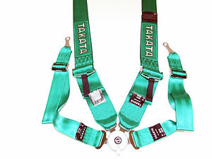 Takata Race 4 Point Bolt on 3 Racing Seat Belt Harness With Camlock green