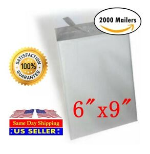2000 6x9 White Poly Mailer Self Sealing Shipping Envelopes Bags St Shipmailers