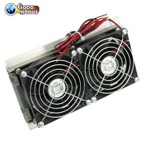 Thermoelectric Peltier Refrigeration Cooling System Kit Cooler Double Fan Diy G