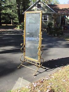 Large Antique Victorian Brass Cheval Mirror Price Reduced