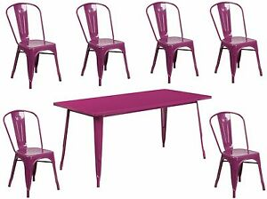 31 5 X 63 Industrial Purple Metal Outdoor Restaurant Table Set W 6 Chairs