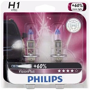 2x Germany Philips H1 12258 Upgrade Vision Extra More Bright Light Bulb 12v 55w