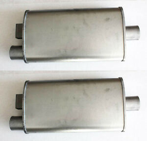 New 1965 1970 Mustang Dual Exhaust Mufflers Original Style W Brackets Pair