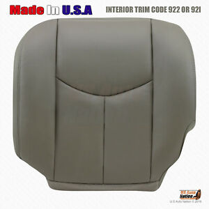 2003 2004 Chevy Silverado Driver Side Bottom Leather Seat Cover Pewter Gray
