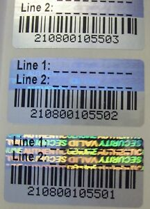 1000 Svag Custom Print Barcode Hologram Security Label Seals 75 X 1 5