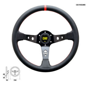 Omp Corsica Professional Steering Wheel 350mm Black With Red Stitch Od1956nr