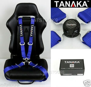 Tanaka Universal Blue 4 Point Camlock Quick Release Racing Seat Belt Harness 2