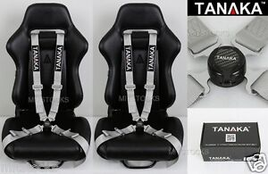 2x Tanaka Universal Gray 4 Point Camlock Quick Release Racing Seat Belt Harness