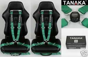2x Tanaka Universal Green 4 Point Camlock Quick Release Racing Seat Belt Harness