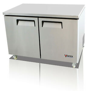 Vortex 48 Commercial 2 Door Under Counter Refrigerator 12 Cu Ft