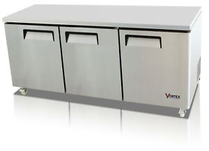 Vortex 72 Commercial 3 Door Under Counter Refrigerator 24 Cu Ft