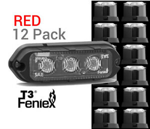 12 Pack Feniex T3 Led Surface Mount Warning Light Super Bright Red