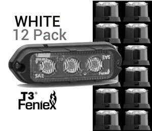 12 Pack Feniex T3 Led Surface Mount Warning Light Super Bright White